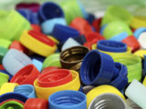 Multicolored bottle caps for recycling